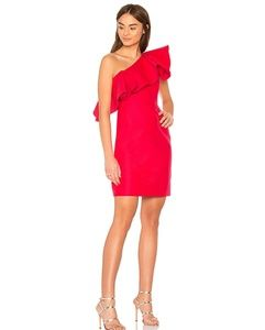 Halston heritage one shoulder with  flounce dress